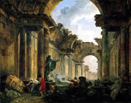 Hubert Robert - Capriccio des Louvre als Ruine