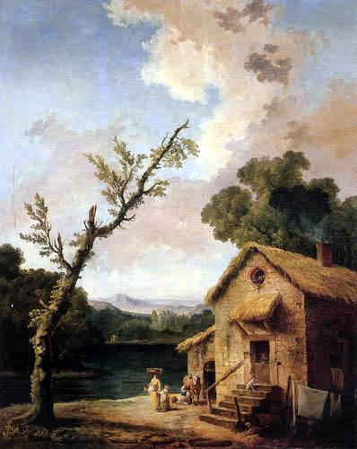 Hubert Robert - Bauernhaus am Fluß