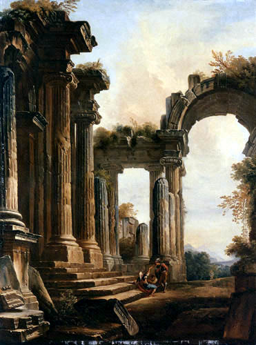 Hubert Robert - Capriccio of classical ruins