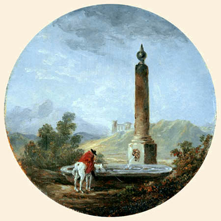 Hubert Robert - Reiter am Brunnen
