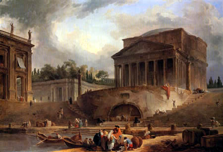 Hubert Robert - Architekturkomposition mit Pantheon