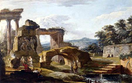 Hubert Robert - Landschaft mit antiken Ruinen und einen Fluß