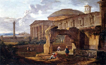 Hubert Robert - Paysage avec des ruines d'antiquité