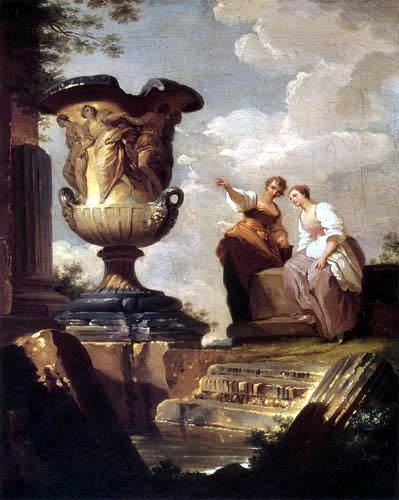 Hubert Robert - Ruines d'antiquité avec un vase
