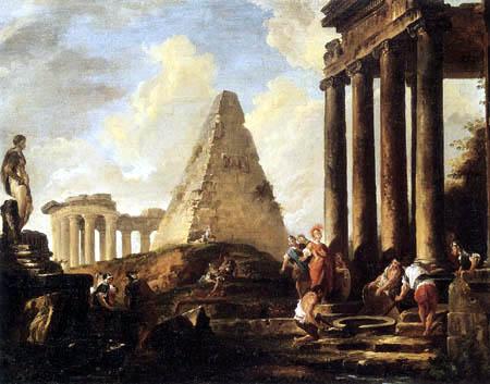 Hubert Robert - Alexander der Große am Grab von Achill