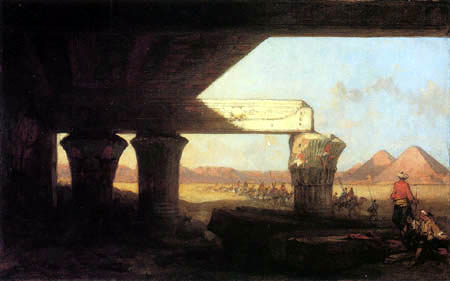 David Roberts - Egyptian Landscape with a Distant View of the Pyramids