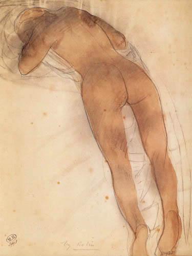 Auguste Rodin - Frauenakt auf dem Bauch liegend