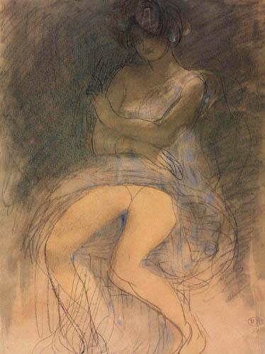 Auguste Rodin - Sitting woman, half dresses
