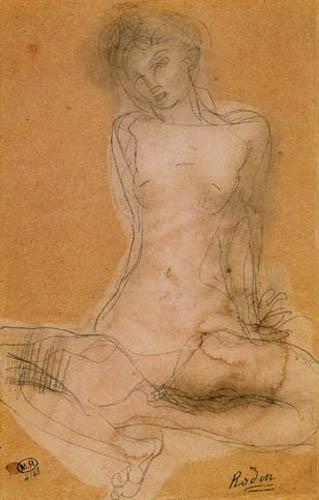 Auguste Rodin - Frauenakt im Schneidersitz