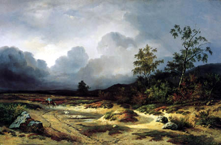 Willem Roelofs - Landscape with rider