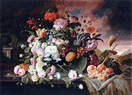 Severin Roesen - Still Life with Flowers and Fruits in a Landscape