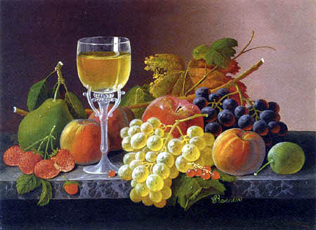 Severin Roesen - Flowers with Fruits