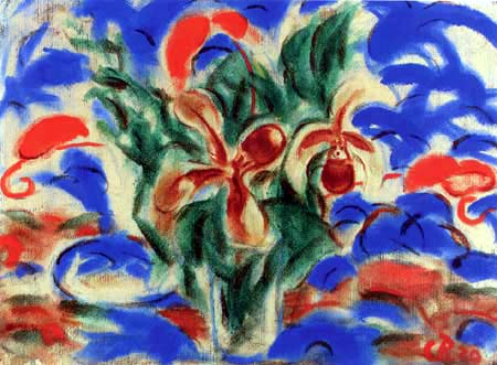 Christian Rohlfs - Frauenschuh und rote Calla im Glas