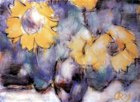 Christian Rohlfs - Sunflowers in a blue vase