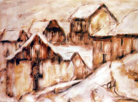 Christian Rohlfs - Tessiner Häuser im Schnee