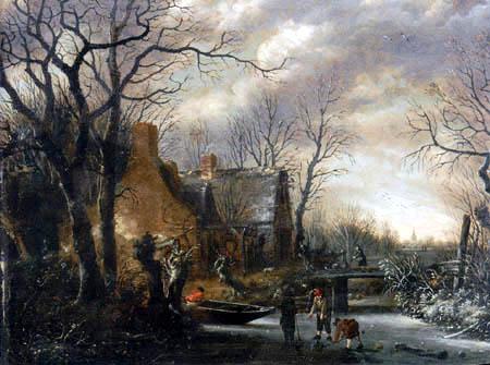 Salomon Rombouts - A winter landscape with a frozen river
