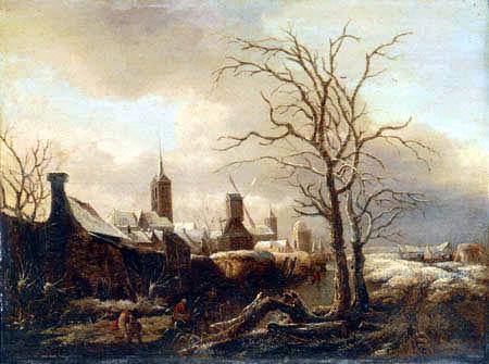 Salomon Rombouts - Un paysage d'hiver avec le patinage de paysans