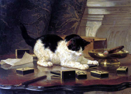 Henriëtte Ronner-Knip - The cat with the dominos
