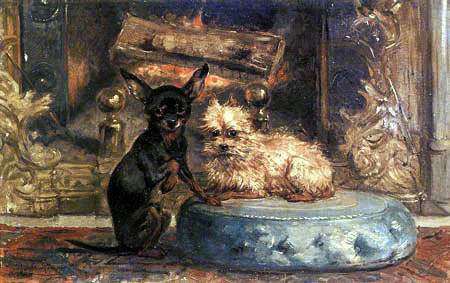Henriëtte Ronner-Knip - Two Lapdogs in Front of a Fireplace