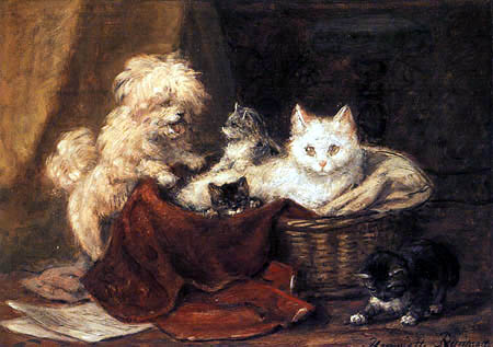 Henriëtte Ronner-Knip - Four kittens and a poodle at play in a basket