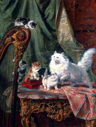 Henriëtte Ronner-Knip - Cat play at the harp