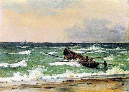 Martinus Rørbye - Pêcheurs de Skagen dans le bateau de sauvetage