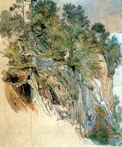 Carl Anton J. Rottmann - Rock slope with trees