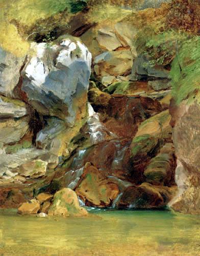 Carl Anton J. Rottmann - Cliff with Waterfall