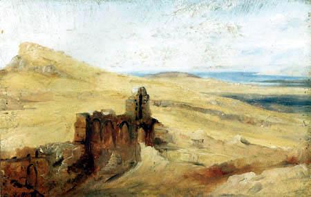 Carl Anton J. Rottmann - Sizilianische  Landschaf mit Kirchenruine