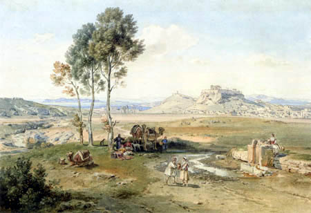 Carl Anton J. Rottmann - Athens- caravan on the well