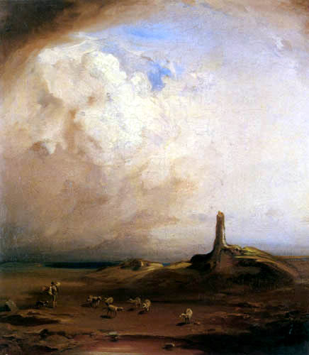 Carl Anton J. Rottmann - Lonely landscape with herd of sheep