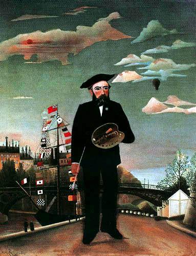 Henri Julien Félix Rousseau - Selfportrait in a landscape