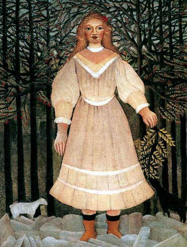 Henri Julien Félix Rousseau - Ein junges Mädchen mit Schafen