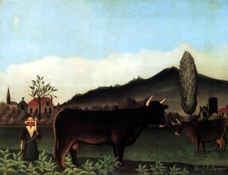 Henri Julien Félix Rousseau - Landschaft mit Kühen