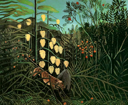 Henri Julien Félix Rousseau - Dschungelkampf zwischen Büffel und Tiger