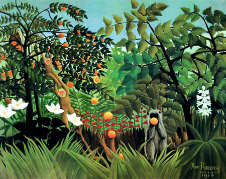 Henri Julien Félix Rousseau - Jungle landscape with monkeys