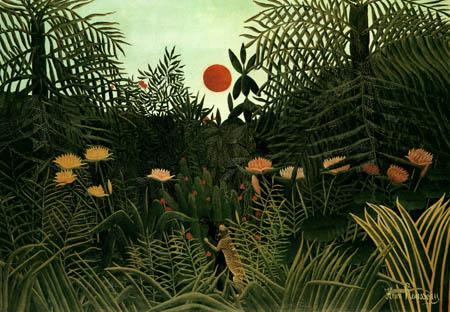 Henri Julien Félix Rousseau - Urwald mit untergehender Sonne