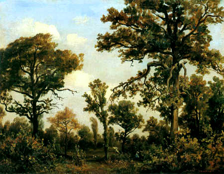 Théodore P. E. Rousseau - The large oak in the forest of Fontainebleau
