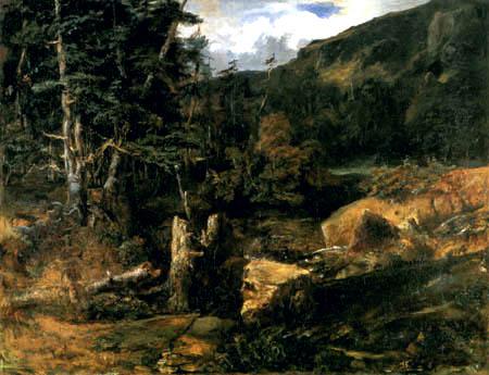 Théodore P. E. Rousseau - Rocky landscape before the tempest