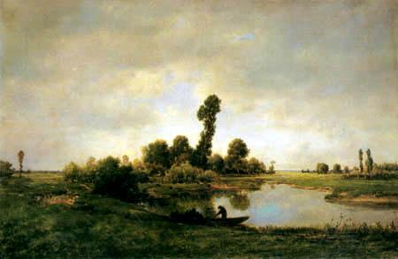 Théodore P. E. Rousseau - Flußlandschaft mit Kahnfahrer