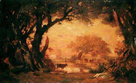 Théodore P. E. Rousseau - Waldlichtung mit Kühen