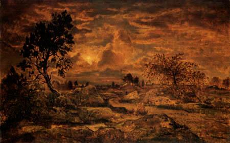 Théodore P. E. Rousseau - Sonnenuntergang über der Heide, Arbonne