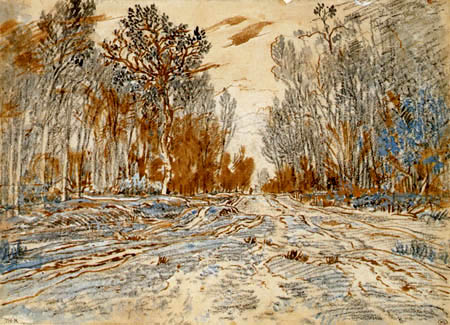 Théodore P. E. Rousseau - Wegstraße durch einen Wald