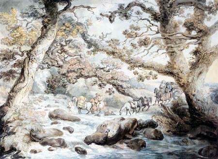 Thomas Rowlandson - Fording the River Camel, Cornwall