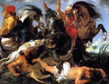 Peter Paul Rubens - Hunt Scene of Hippopotamus and Crocodile
