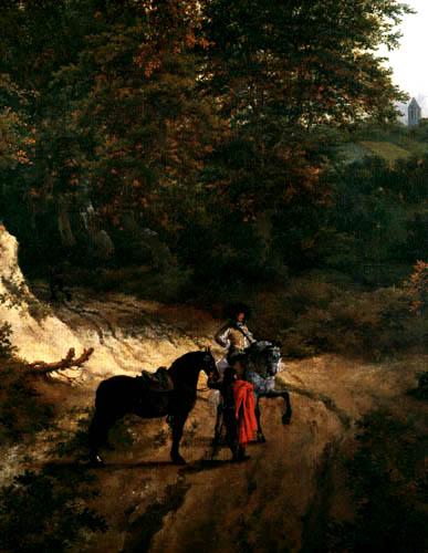 Jacob Isaack van Ruisdael - Landschaft mit kleinem Steg, Detail