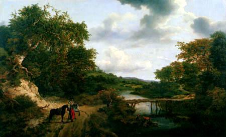 Jacob Isaack van Ruisdael - Landschaft mit kleinem Steg