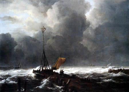 Jacob Isaack van Ruisdael - Harbor entrance in storm