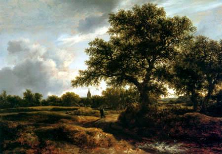Jacob Isaack van Ruisdael - Landscape with a village church