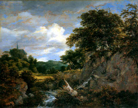 Jacob Isaack van Ruisdael - Hilly landscape with chapel